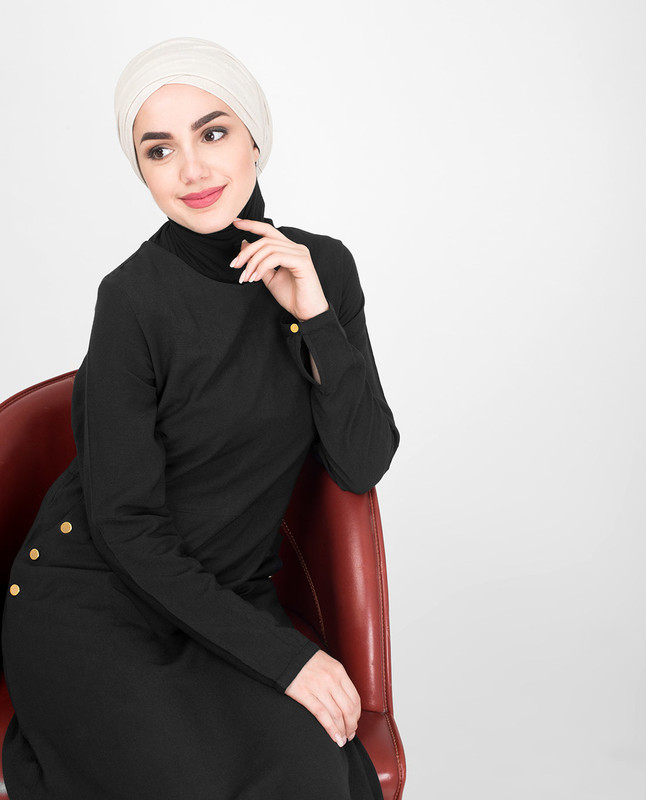 Cross Pocket Classic Black Jilbab