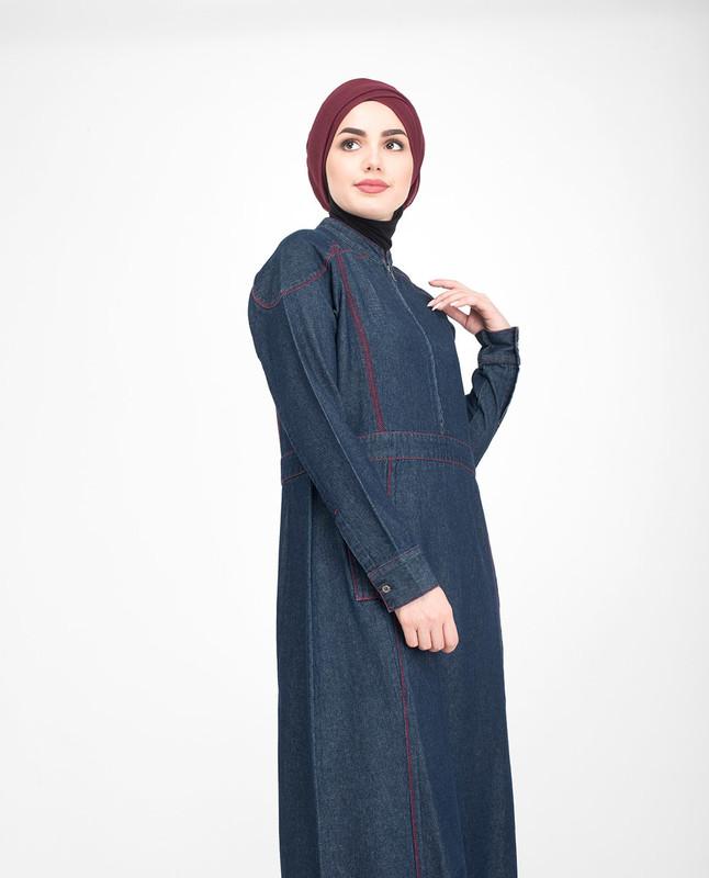 Front zip denim jilbab abaya