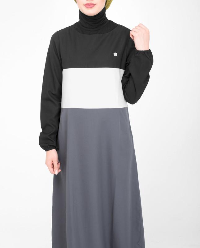side pockets grey abaya jilbab