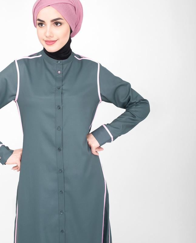 Front open grey jilbab abaya