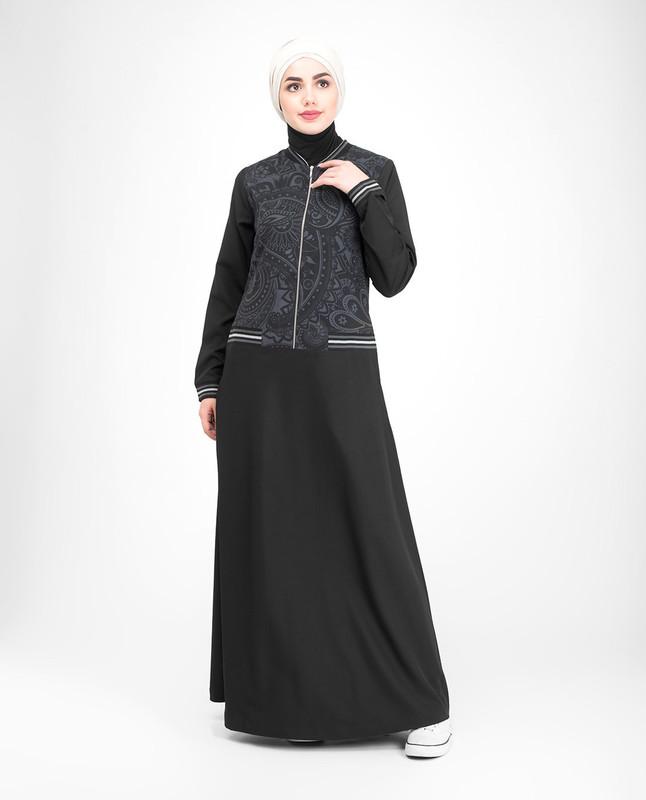 Black front zipper jilbab abaya