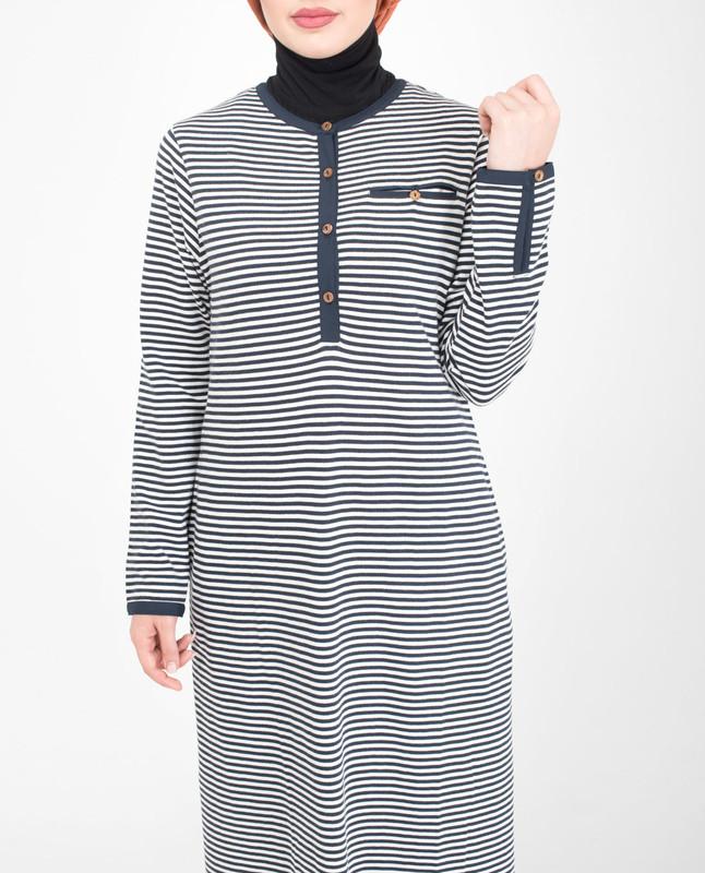 Front buttoned opening striper abaya jilbab