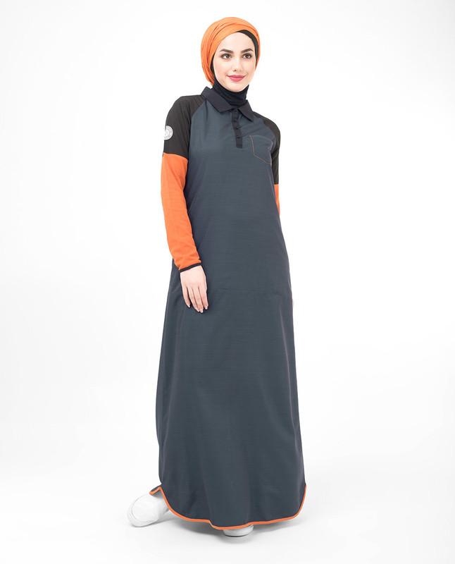Grey and orange jilbab abaya