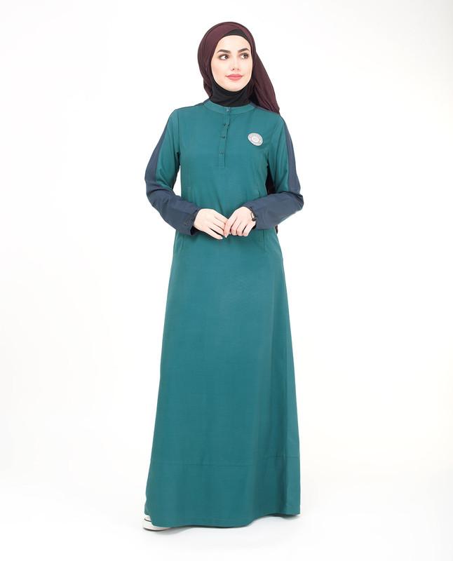 buttoned green jilbab abaya