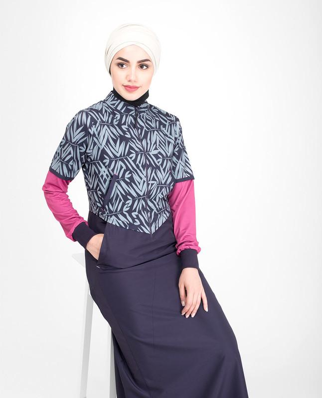 Long front zip opening jilbab abaya