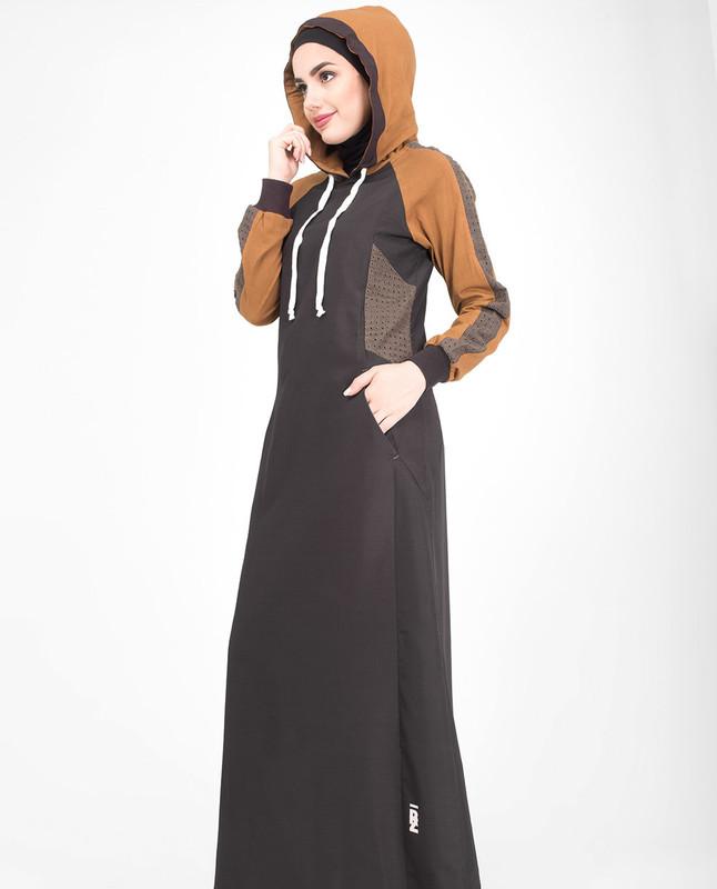 Brown hooded jilbab abaya