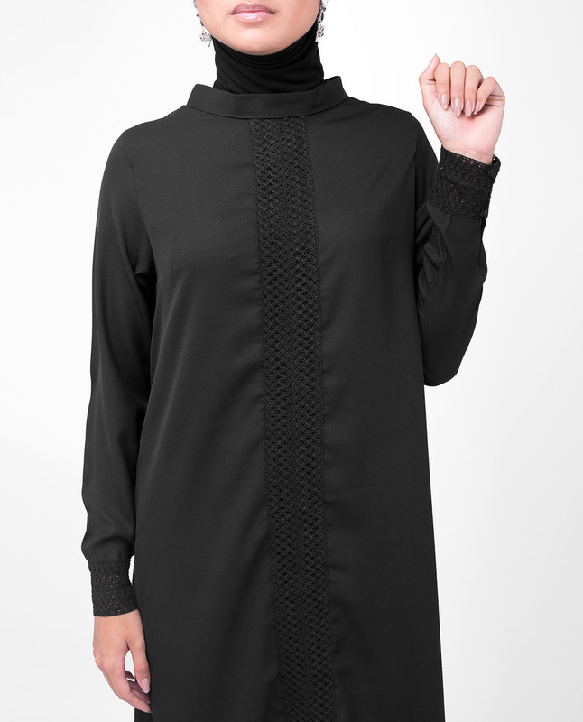 Black Lace Modest Top