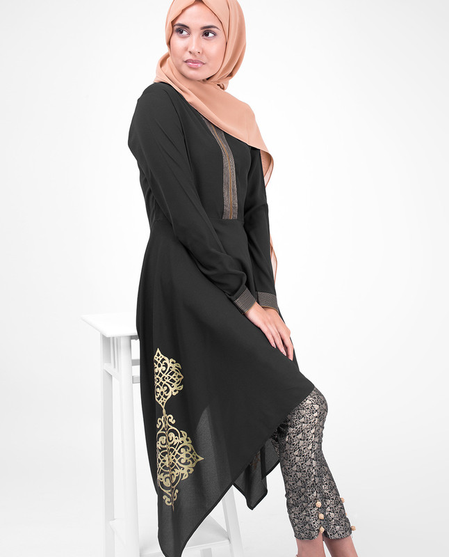 Black & Gold Print Modest Tunic Dress