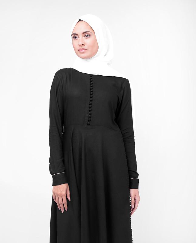 High Low Midi Black Modest Tunic Dress