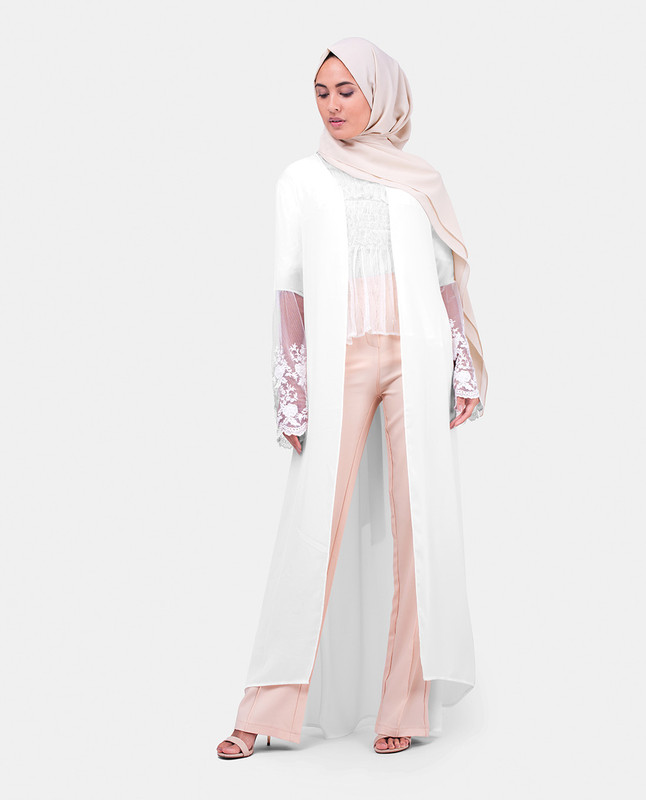 Long White Lace Outerwear