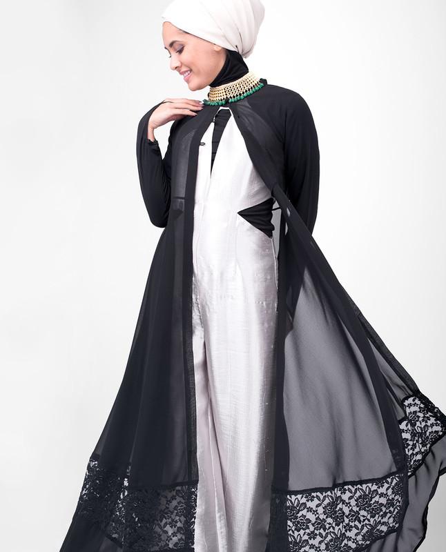 Long Black Elegant Lace Outerwear
