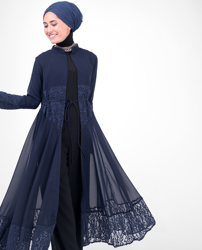 Long Full Length Navy Elegant Lace Outerwear