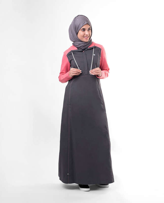Sports hooded abaya jilbab