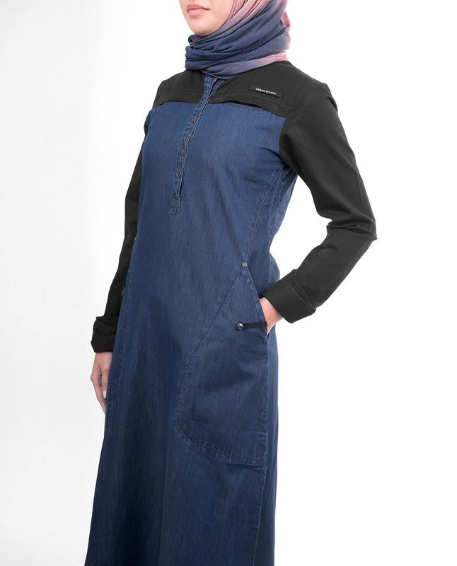 Denim blue abaya jilbab