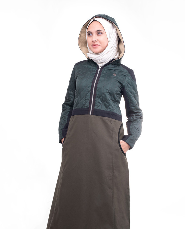 Olive Hooded Winter Jilbab