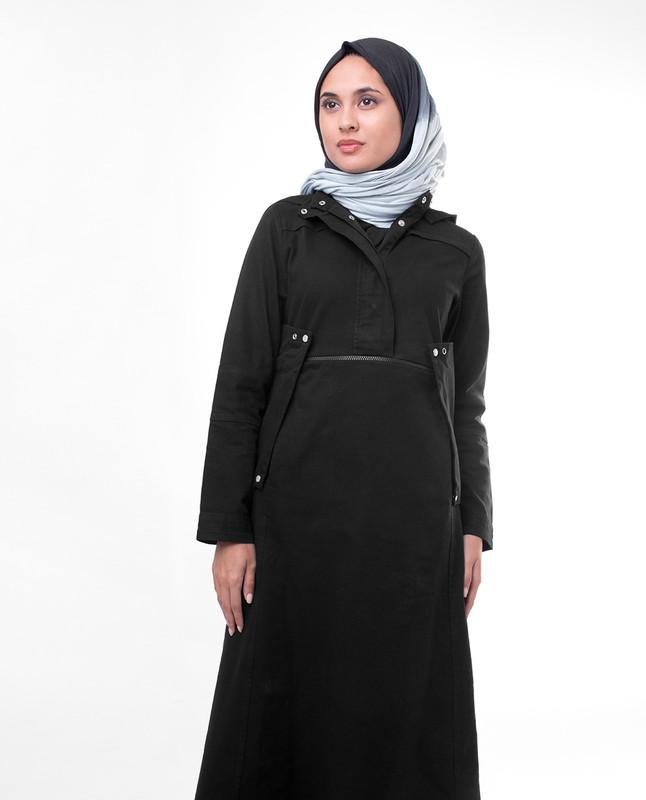 Black Detachable Hood Winter Jilbab