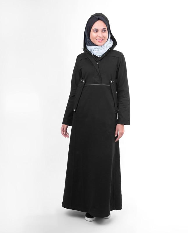Black hooded winter abaya jilbab