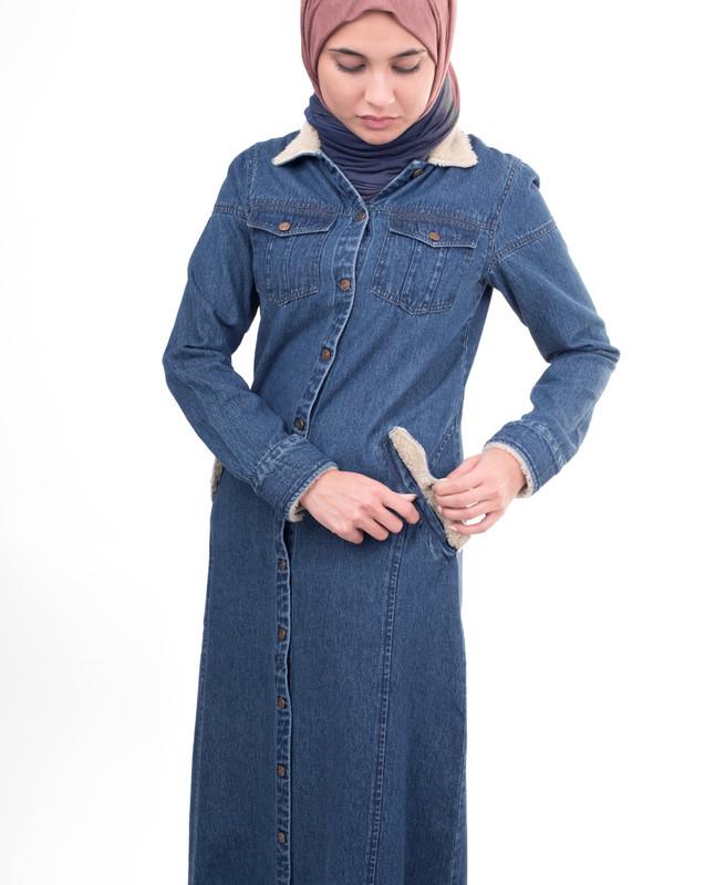 Fur collar abaya jilbab
