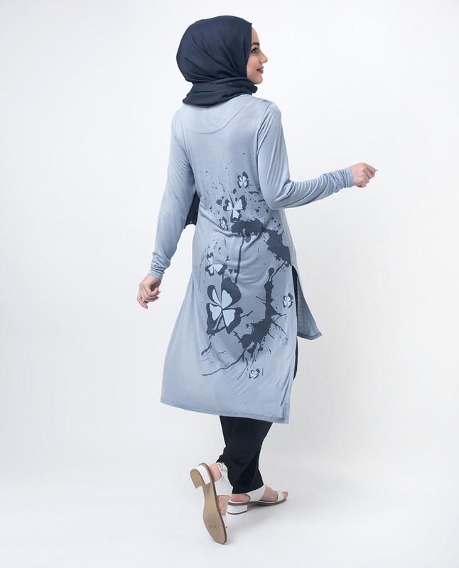Blue Floral Print Modest Top
