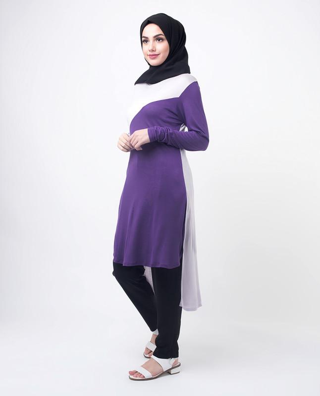 Purple & Lilac Colour Blocking Modest Top