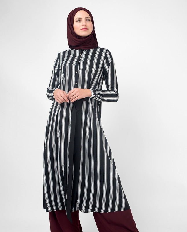 Black & White Modest Shirt Dress