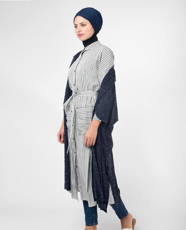Black & White Striped Modest Shirt Dress