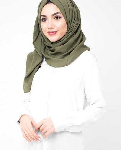 Dark Olive Green Cotton Voile Scarf