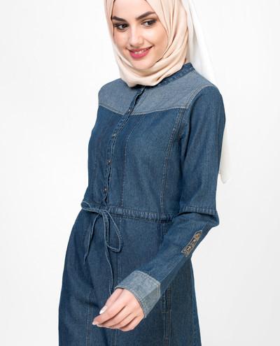 Denim Placket Jilbab