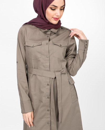 Long Dress Beige Belted Jilbab