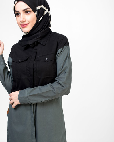 Charcoal and Black Buttoned Jilbab