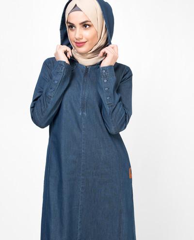 Shoulder Featured Denim Jilbab