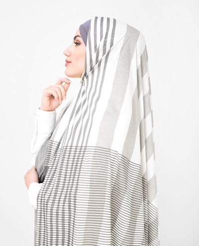White Grey Shaded Viscose Jersey Hijab