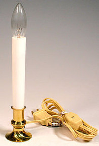 ELECTRIC WINDOW CANDLE LAMP w/ BRASS PLATED BASE, ON/OFF SWITCH, BULB ~NEW!