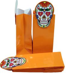 "12 Pack of Glossy Paper Treat Goody Bags, 6.5""x3"",Halloween Orange w/Sugar Skull"