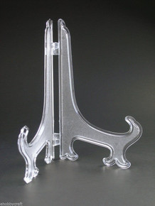 "6.5"" Clear Frost Plastic Plate Display Easel Stand Holders -Wholesale Case of 576 Pieces"
