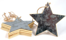 Creative Hobbies® Star Shape Tin Covered Wood Christmas Ornaments, 3.5 inch size, Ready to Hang or Decorate, Pack of 6 Ornaments …