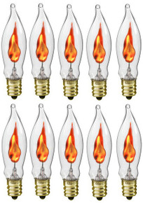 Creative Hobbies® A101 Flicker Flame Light Bulb -3 Watt, Flame Shaped, Nickel Plated Base,- Dances with a Flickering Orange Glow - Box of 10 Bulbs