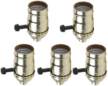 Creative Hobbies® Quick Wire 3 Way Turn Knob Lamp Sockets, Medium Base, Push In Terminals, Gold Shell Incandescent Replacement Lampholders, Pack of 5 Sockets