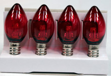 Creative Hobbies® Replacement Lamp C7 / 3 LED / 0.4W / LED Candelabra Base C7 Light Bulbs , Red Transparent , 4 Bulb Value Pack