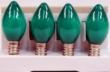 Creative Hobbies® Replacement Lamp C7 / 3 LED / 0.4W / LED Candelabra Base C7 Light Bulbs , Green Opaque , 4 Bulb Value Pack