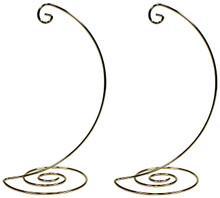 Creative Hobbies Fancy Gold Metal Ornament Display Hanger Stands, 10 Inch Tall, Pack of 2