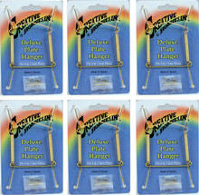 Creative Hobbies Deluxe Plate Display Hangers, Spring Style, Expandable to Hold 5 to 7 Inch Plates- Gold Wire Spring Type, Hanger Hooks & Nails Included -Pack of 6 Hangers