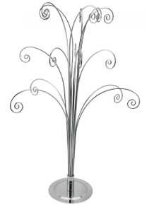 Creative Hobbies 20 Inch Tall Ornament Display Tree, Silver Chrome Plated, Holds 15 Ornaments