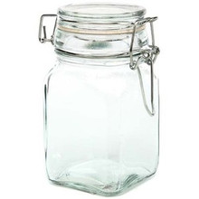 "GLASS JAR w/ LOCKING LID -4.75"" H x 2.5"" SQUARE -HOLDS 7 FL OZ ~CASE OF 36 JARS"