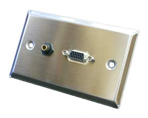 Stainless steel wall plate with vga and 3.5mm connector