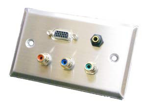 stainless steel wall plate with vga, 3.5mm, and red, green, and blue rca connectors