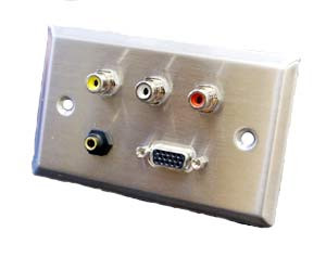 stainless steel wall plate with vga, 3.5mm, and rca connectors y/w/r
