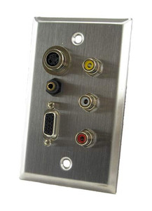 stainless steel wall plate with vga, 3.5mm, rca, and s-video