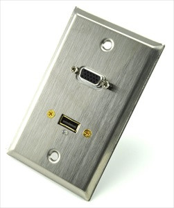 stainless steel wall plate with vga and usb
