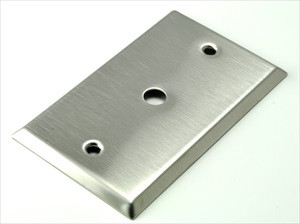 "stainless steel plate with .375"" hole cut out"